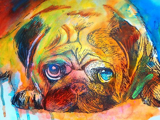 Mr Pug Pop Art by Emma Kaufmann