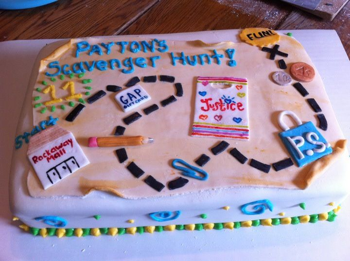 Payton's mall scavenger hunt cake