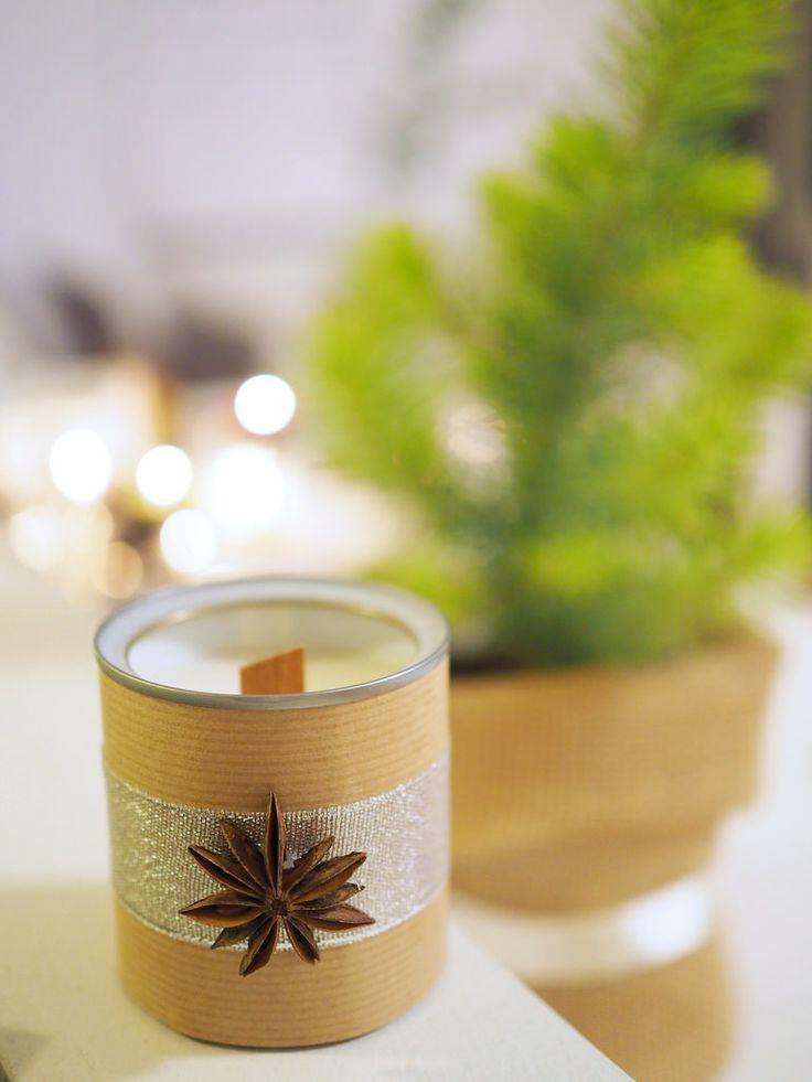 DIY Christmas Soy Candles / Itse tehty soijavahakynttilä. Joululahjaidea.