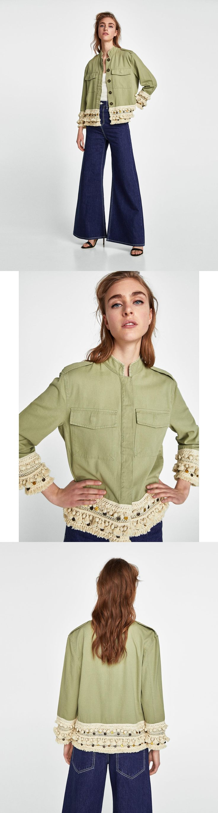 Short Parka With Tassels // 69.90 USD // Zara // Parka with high collar and long sleeves with contrasting tassels along the hem and cuffs. Front patch pockets with flaps and side in-seam pockets. A-line silhouette. Fastens in the front with buttons hidden by a placket. HEIGHT OF MODEL: 179 CM / 5′ 10″