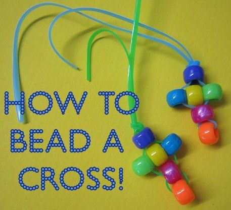 How to bead a cross with kids- a fun and easy christian craft! Perfect for Vacation Bible School, Sunday School, CCD, or anytime!