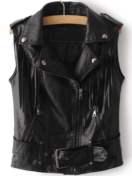 Chaleco de PU con cinturón y flecos - negro