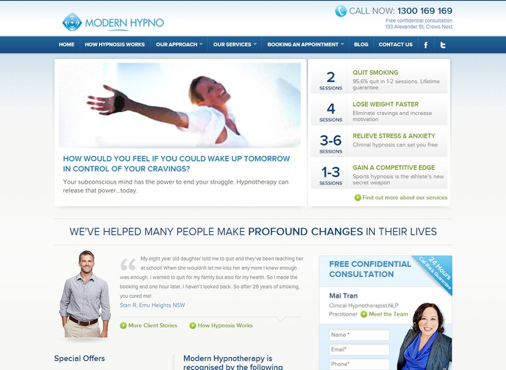 Modern Hypnotherapy - http://www.modernhypnotherapy.com.au/