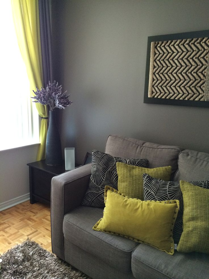 Green, brown and gray living room | Decoration | Pinterest