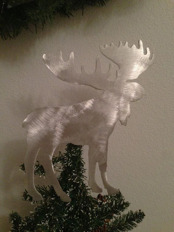 Moose Handcrafted Metal Tree Topper, Holiday Decoration, Wreath Decoration,  Christmas, Aluminum, - Moose Handcrafted Metal Tree Topper, Holiday Decoration, Wreath