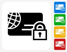 Secure Credit Card Icon Flat Graphic Design vector art illustration
