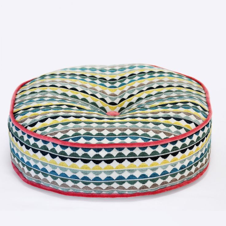 Olley Acacia Round Cushion with Scandinavian Pink Piping - 45cm