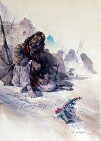 Ali Abbas, Pensive Cerebration, 17 x 25, Watercolor on Paper, Figurative, Exhibition Painting-17