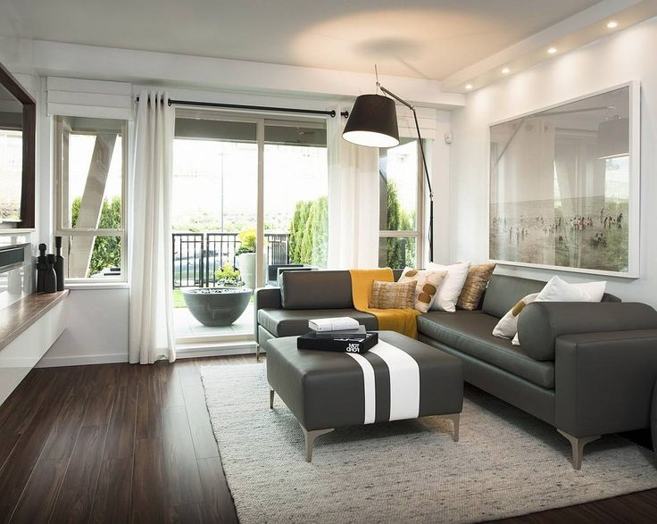 Impressive Gray Color Scheme Living Room Decorating Idea Features Cozy Gray L Sha Living Room Wood Floor Living Room Hardwood Floors Elegant Living Room Design