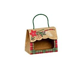 """Small Gourmet Window Gift Totes Holly-day Plaid 5 1/8"""" x 2 5/8"""" x 4 1/4""""-31348"""