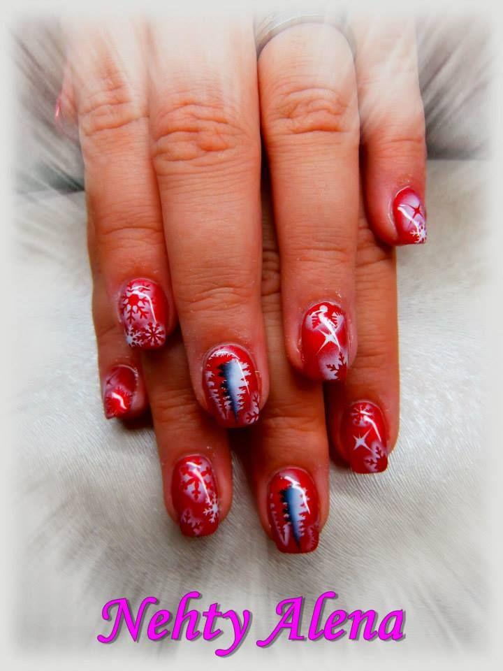 Airbrush - nail design dle mě ;) zima, vánoce