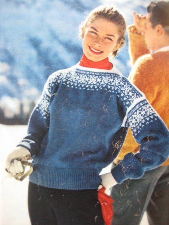 Knit Ski Sweater Pattern, 1950's Vintage Pattern - Women's Knitted Ski Sweater…