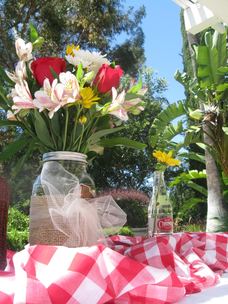 centerpiece for a country picnic themed baby shower