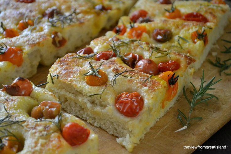 focaccia: Breads Recipe, Focaccia Breads, Food, The View, Tomatoes Focaccia, Baking, Appetizer, Heirloom Tomatoes, Summer Tomatoes