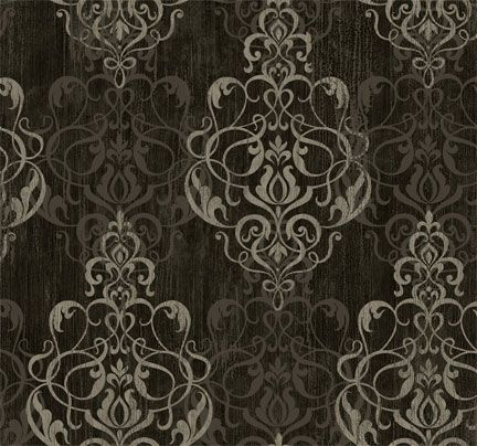 Black gray and charcoal damask wallpaper wall frosting for Black and grey bedroom wallpaper