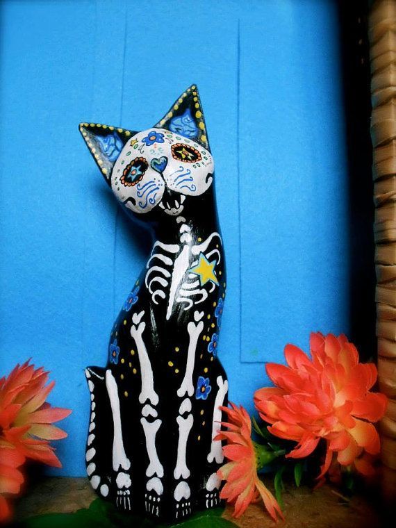 AVAILABLE Sugar Skull Cat Day of the Dead  Blue Roses by DonaZarzanga