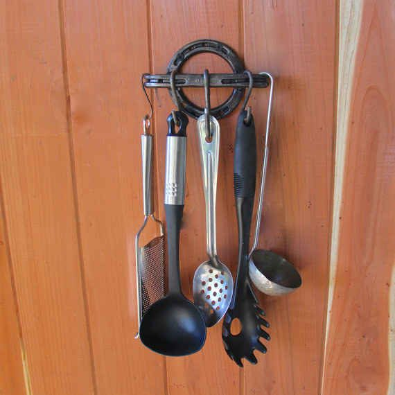 These horseshoes-turned-kitchen-utensil-holder make finding what you need super easy.