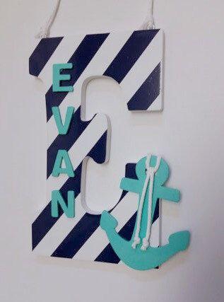 Nursery Letters, Nautical Letter, Wood Letters, Nautical Nursery, Aqua Letter, Anchor, Anchor Decor, Nautical Baby Shower, Boy Nursery Decor by LaurenAnnaLei on Etsy https://www.etsy.com/listing/258053063/nursery-letters-nautical-letter-wood