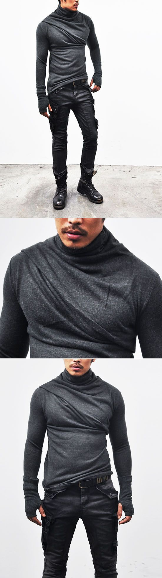 Tops :: Tees :: Avant-garde Bandage Armwarmer Turtle-Knit 32 - Mens Fashion Clothing For An Attractive Guy