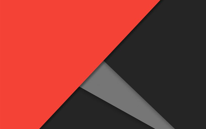 Download wallpapers 4k, red and black, android, lollipop, lines, geometric shapes, material design, creative, strips, geometry, dark background
