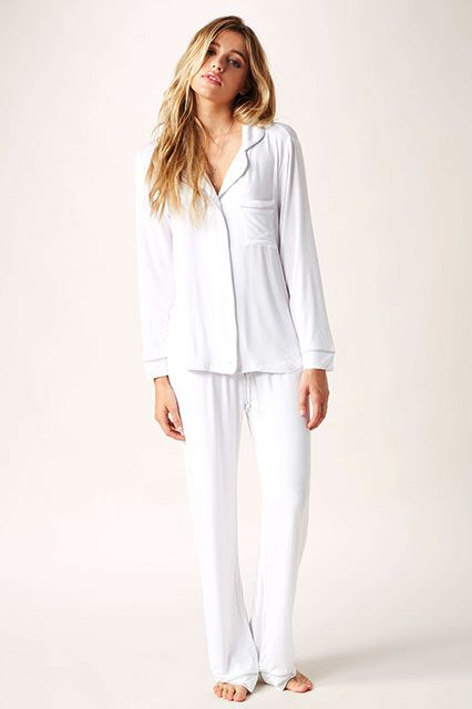 30 Perfect Pairs Of Pajamas For Your Next Netflix Marathon #refinery29  Loungerie Pippa PJ Set, $129, available at Planet Blue.  http://www.refinery29.com/cute-fall-pajamas#slide20