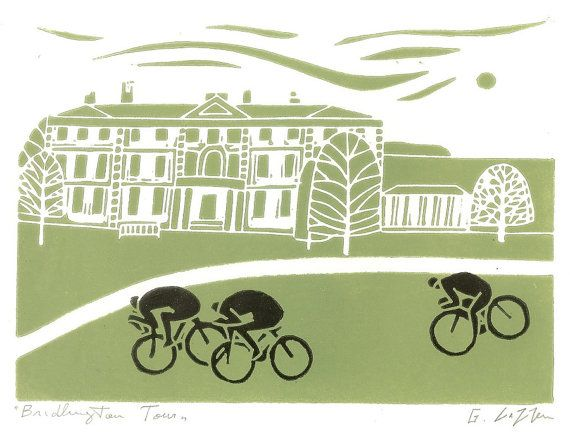 Bridlington Tour De Yorkshire Print, Bike Art Linocut, Cycling Art - Bicycle Print - Green and Black Print Signed Giuliana Lazzerini