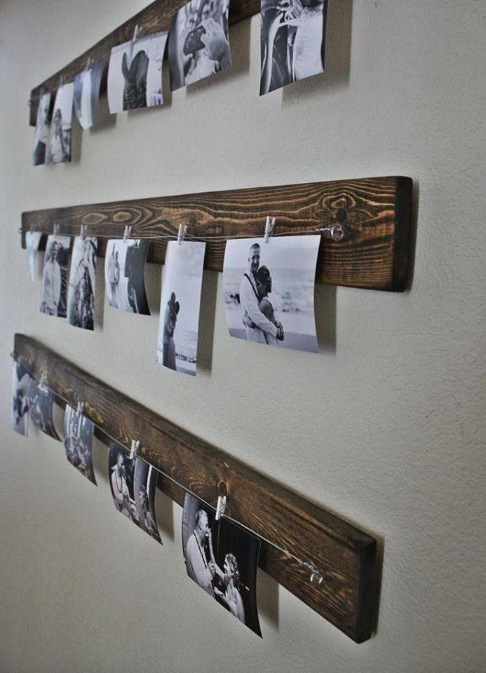 affichage de photo sur planche de bois