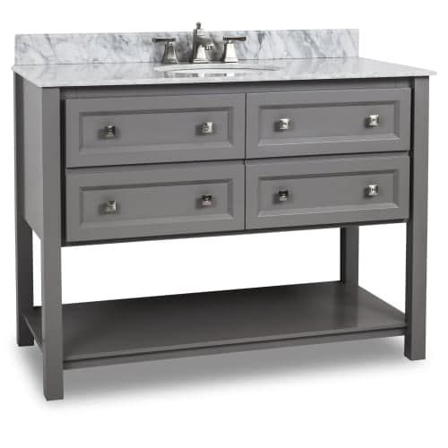 Elements VAN088-48-T Alder 48 Vanity Set with Wood Cabinet, Marble Top, and One Undermount Sink