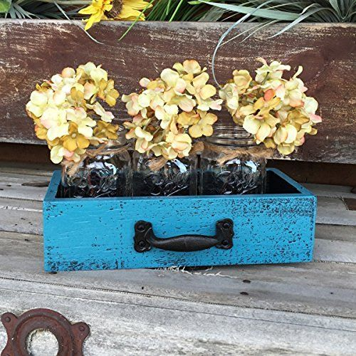 Mason Canning Jars in Wood DRAWER with 3 Jars Rustic Distressed Centerpiece Kitchen Ball Jar Decor