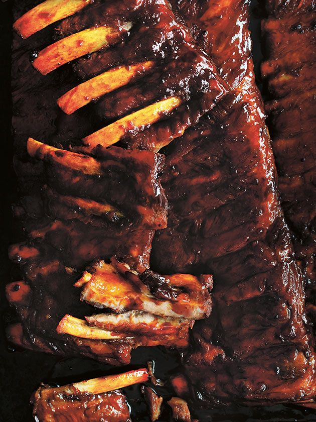 sticky maple and bourbon pork ribs