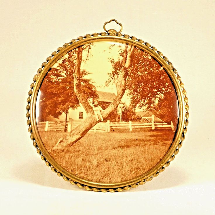 Sepia Photo Button - Brass Tin Easel Back Frame - Columbia Portrait Co Chicago