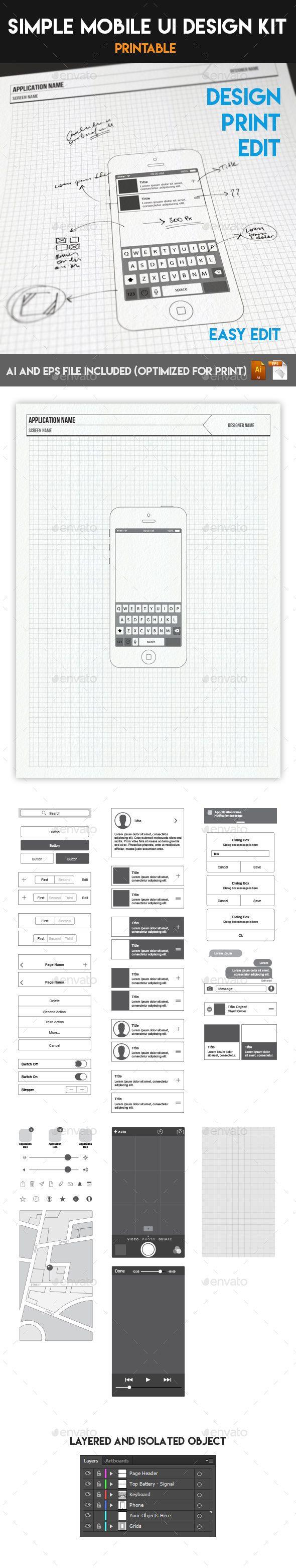 Simple Mobile UI Wireframe Design Kit (Print & Edit)