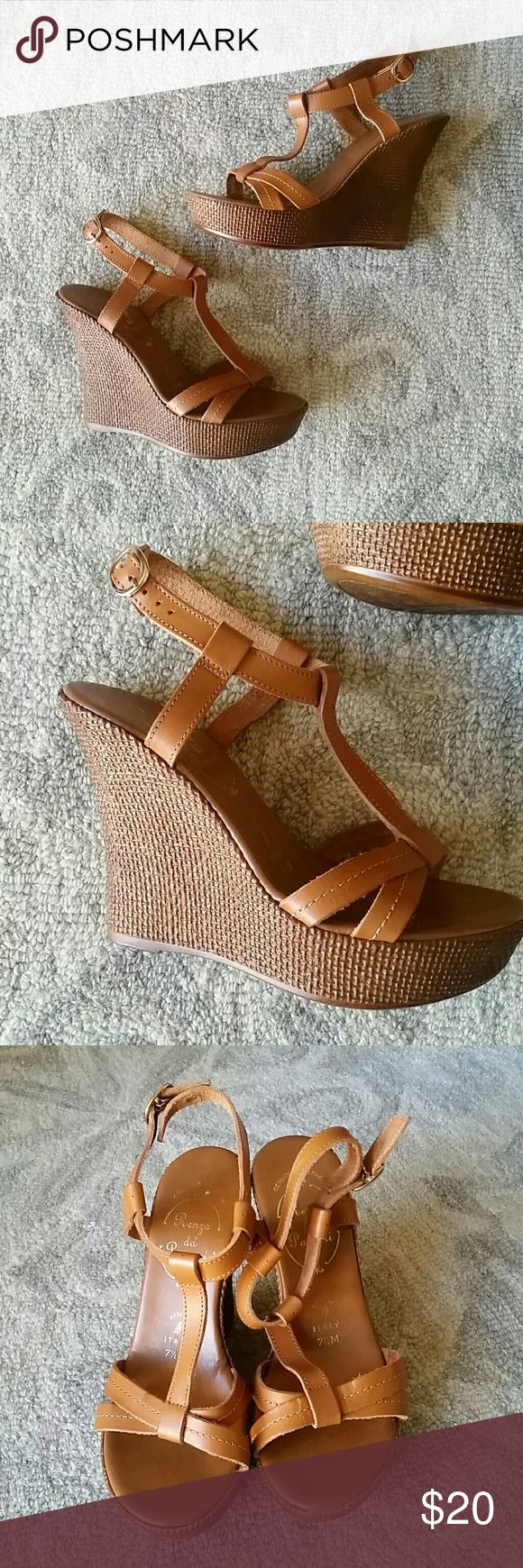 "NWOT Italian-made Leather Platform Wedges, 7.5 Cute and sexy sky-high strappy camel colored platform wedges. Upper is real leather. Sole is synthetic, has a natural cross hatch / woven look and is lightweight. Wear these all spring and summer! Neutral color makes them super versatile.   Platform: 1.25"" Heel: 4.75""  New without tags. (Re-Posh, turned out to be too tall for me) :) Renza da Parcari Shoes Wedges"