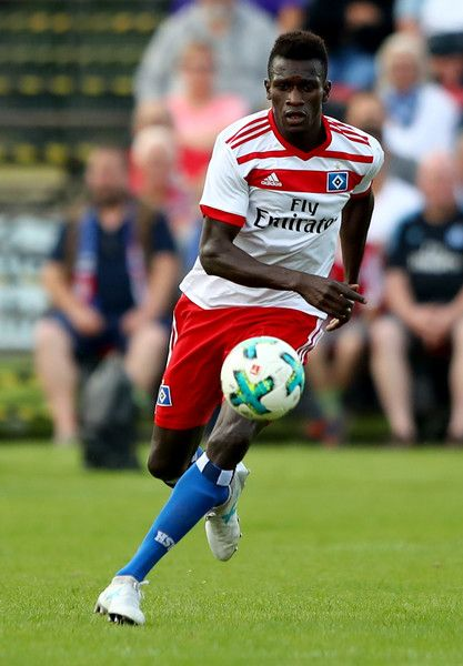 Bakery Jatta of Hamburg runs with the ball during the preseason friendly match between Holstein Kiel and Hamburger SV at Gruemmi-Arena on July 19, 2017 in Kiel, Germany.