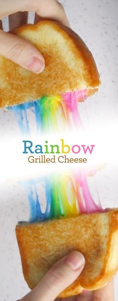 Rainbow Grilled Cheese: Part lunch, part art project. This Rainbow Grilled Cheese on Sara Lee Artesano Bread delights grilled cheese fans of all ages. Make mealtime magic by simply adding a little all-natural food coloring to shredded Mozzarella cheese!
