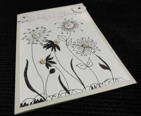Virágok és gyöngyök közt - esküvői képeslap, Esküvő, Képeslap, album, füzet, Meghívó, ültetőkártya, köszönőajándék, Ajándékkísérő, Meska