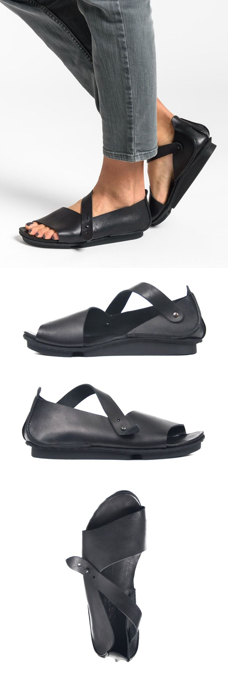 $315.00 | Trippen Marlene Strap Sandal in Black | Santa Fe Dry Goods & Workshop | Trippen shoes are exception in design and committed to environmentally conscious production. Made from vegetable tanned leather and rubber soles for comfort. The sandal is perfect for spring and summer. Sold online and in-store in Workshop in Santa Fe, New Mexico.