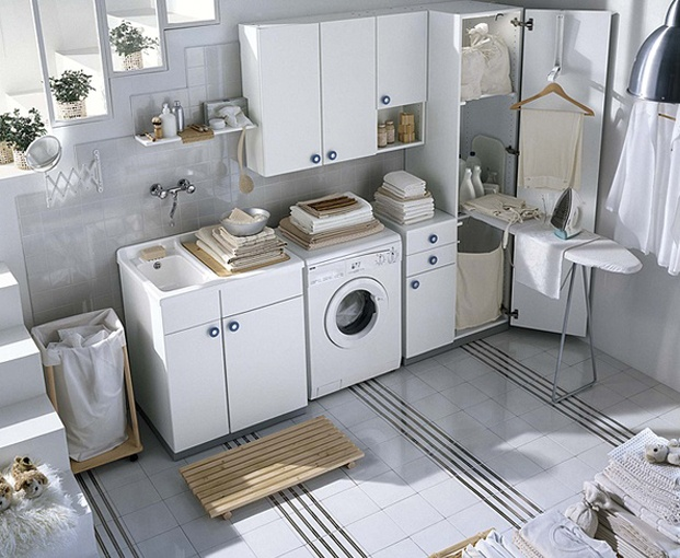 Laundry room ideas. Basement Laundry. Laundry Tile