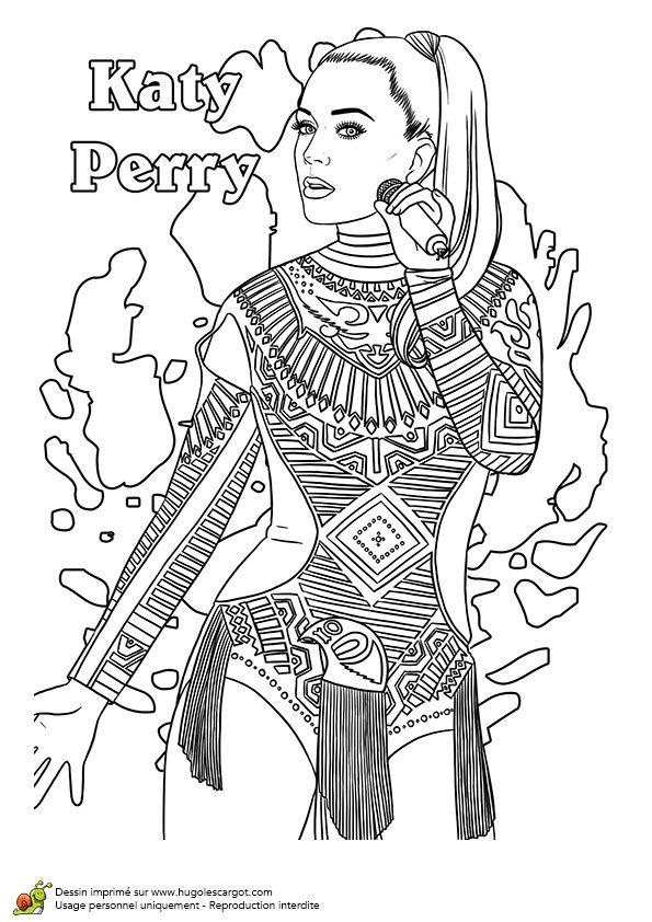 Dessin de la chanteuse katy perry dessins de stars - Coloriage hugolescargot ...