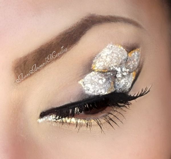 Silver and Gold Flower Eye Makeup