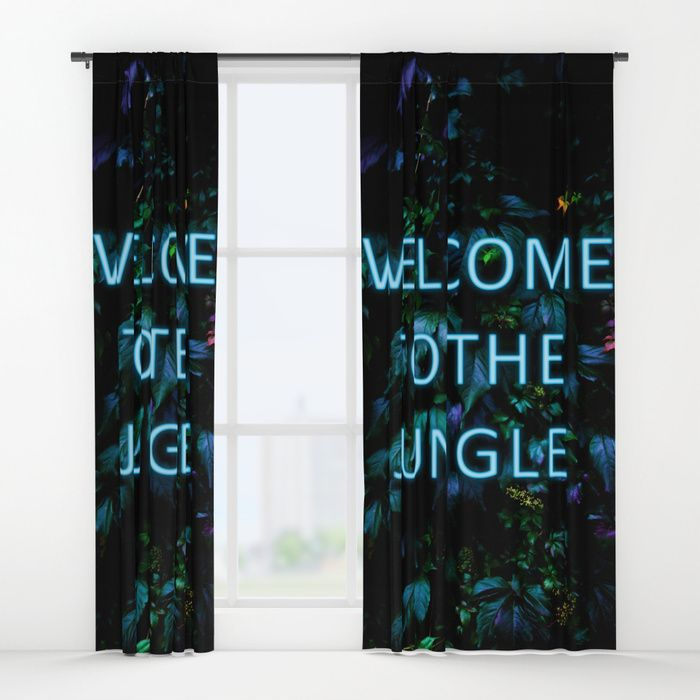 Welcome to the Jungle - Neon Typography Curtains by Nicklas Gustafsson. Your drapes don't have to be so drab. Our awesome Window Curtains transform a neglected essential into an awesome statement piece. #neon #typography #floral #botanical #jungle #forest #nature #flowers #homedecor #curtains #drapes