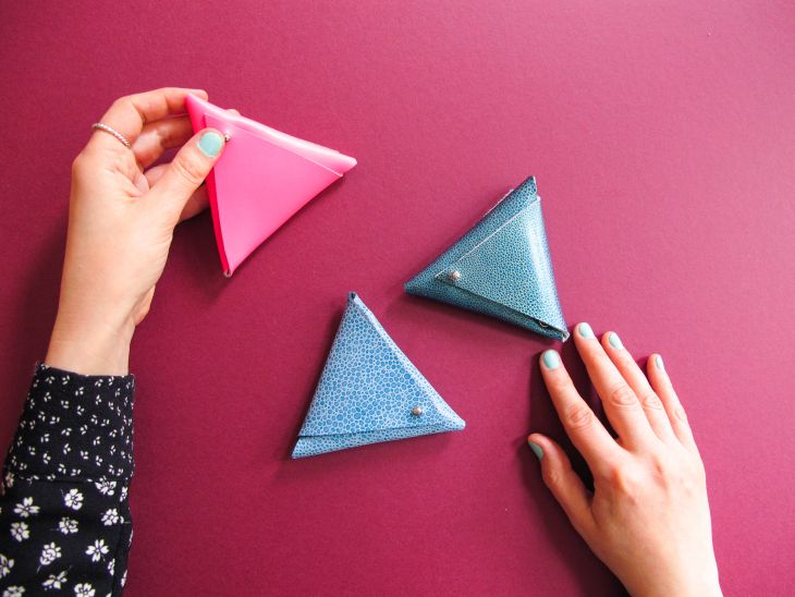 DIY : triangle leather coin purse no sew