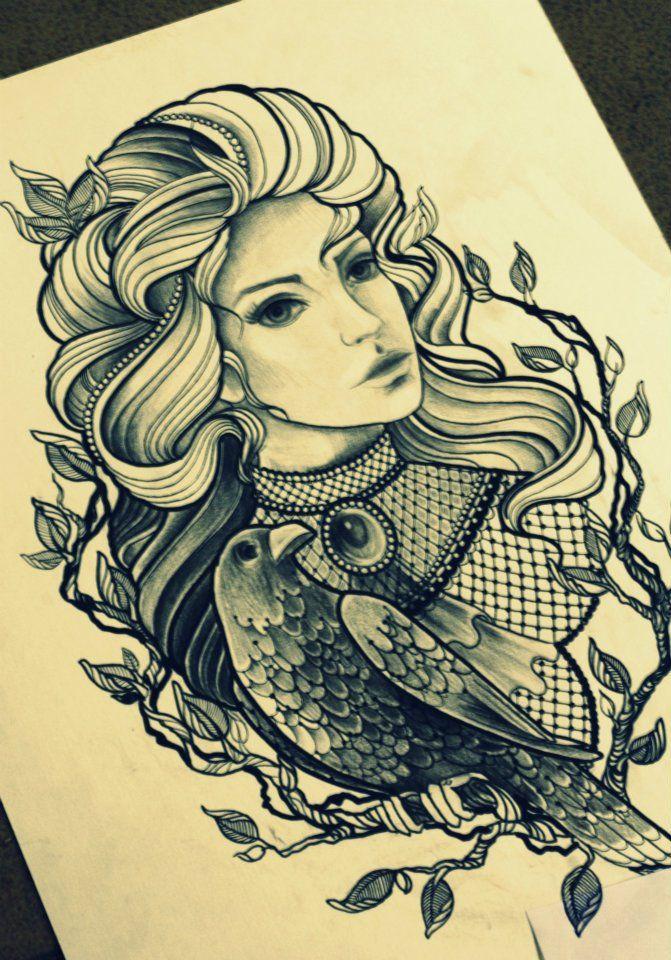 woman & crow tattoo design I should do make them ravens and add it to my tattoo