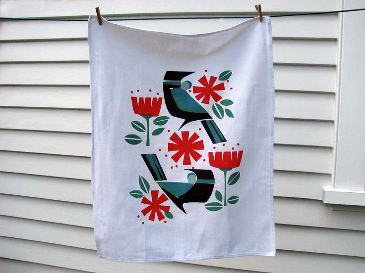 December Tuis....hand printed Tea Towel | Felt
