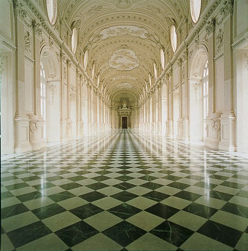 Corridor inside the Reggia di Venaria Reale (Palace of Venaria) near Turin, Italy. Very similar style & size-wise to Versailles. Exquisite.