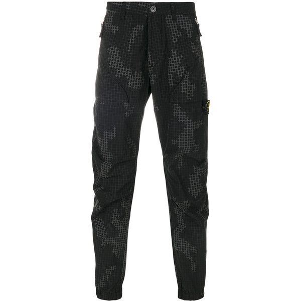 Stone Island graphic camougflage trousers (€425) ❤ liked on Polyvore featuring men's fashion, men's clothing, men's pants, men's casual pants, black, mens cotton pants, mens camouflage pants, 80s mens pants, mens zipper pants and mens camo pants