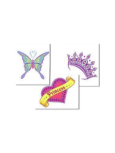 Her Highness Temp Tattoos by Creative Converting. $1.85. Party guests will let down their hair and cheer for the chance to decorate their hands, arms, or ankles with the Princess Tattoos. Each package contains 8 purple tiara tattoos, 8 blue butterfly tattoos and 8 heart-shaped princess emblem tattoos for a total of 24! The Her Royal Highness tattoos are waterproof, removable, safe and non-toxic. Ages 3 and up.