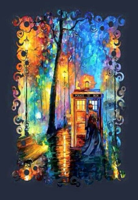 "ksc This is pretty, but someone artistic in their own right just added the Doctor and the TARDIS to ""Melody Of The Night"" painting by Leonid Afremov ☺♥♥"