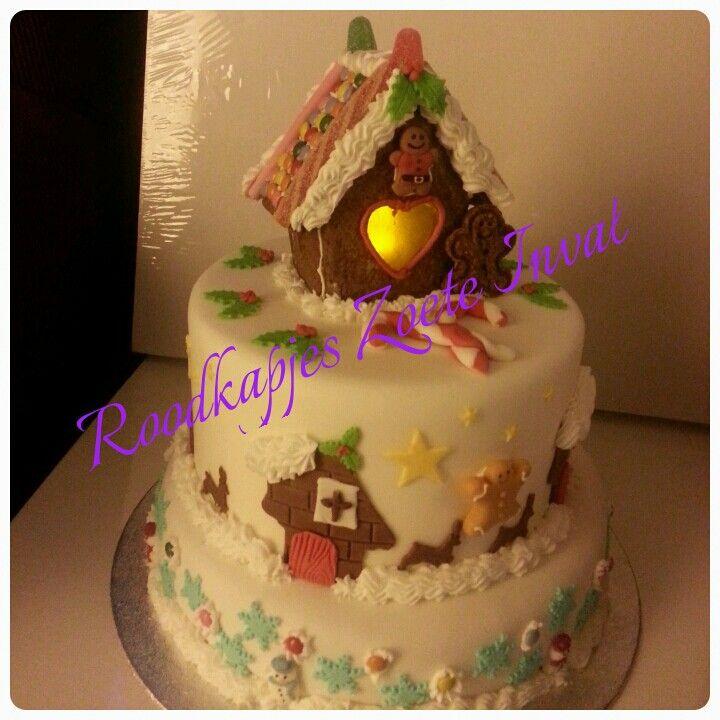 Een over-the-top winterwondertaart met gingerbread huisje #wintertaart #gingerbread