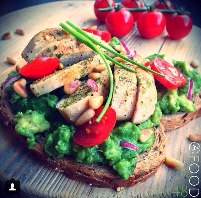 Pesto chicken, avocado on wholewheat toast!